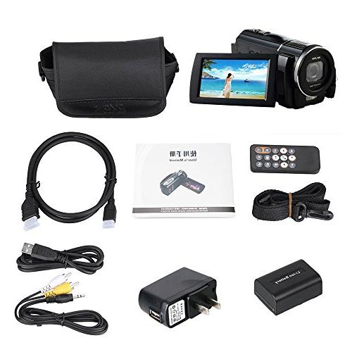 ORDRO 1080P HD Video Camcorder with Macro External Battery