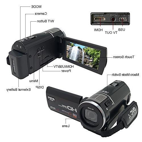 ORDRO 1080P Camcorder Macro External