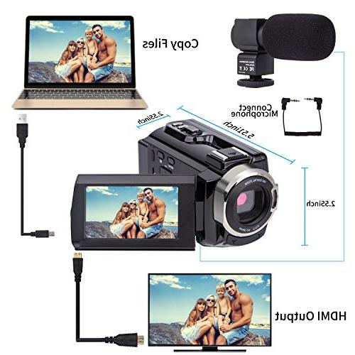 Video Camera kicteck HD WiFi Vision 16X Digital Zoom Recorder Batteries
