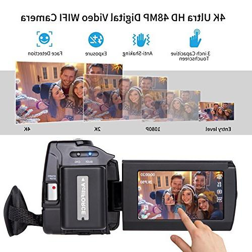 Video Camera 4K kicteck HD WiFi Camera 48.0MP 3.0 inch Touch Screen Vision Zoom Recorder Batteries