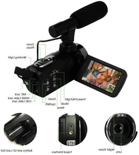 Camcorder Video Camera 48MP WiFi Vlogging Camera Night Vision