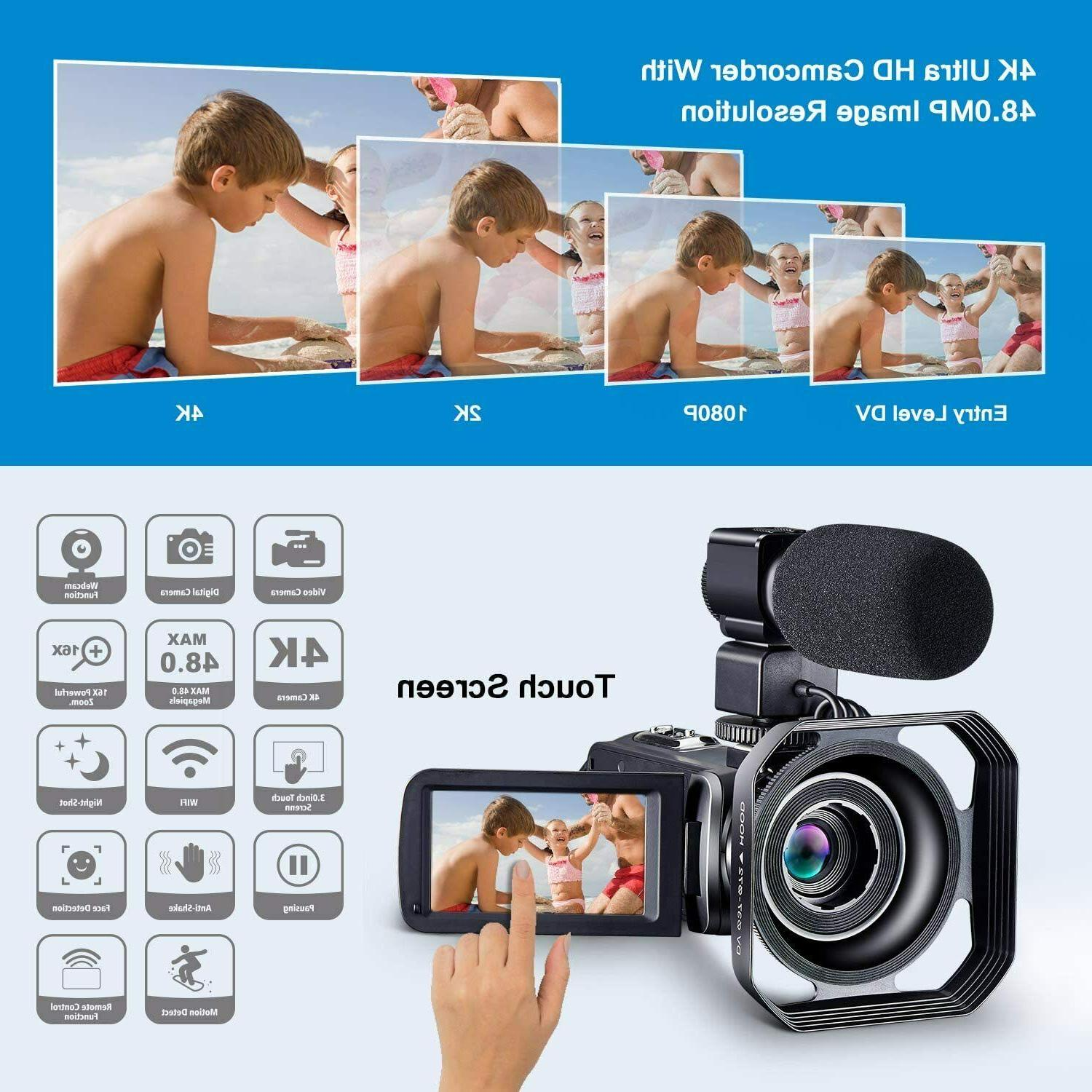 Camcorder HD 4K 48MP Camera with & Remot