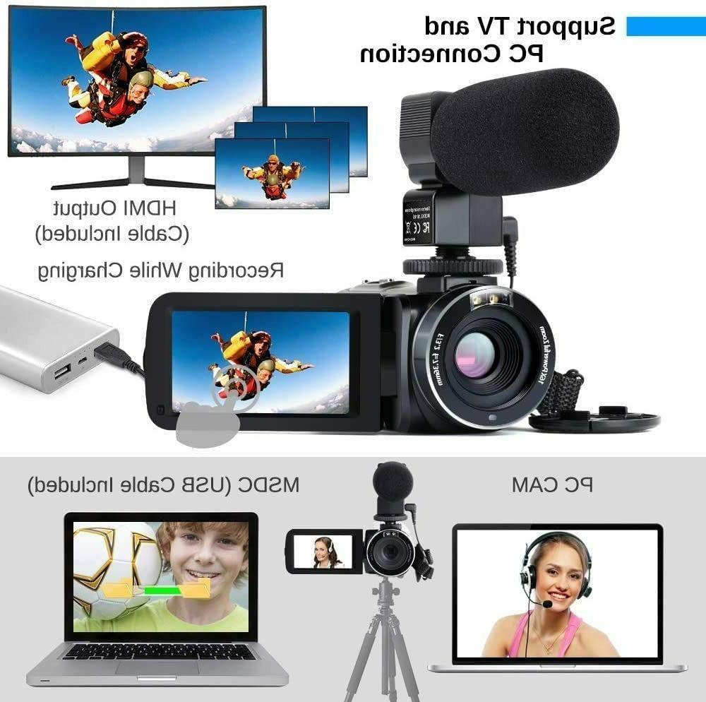 Camcorder HD Camera Microphone & Remot