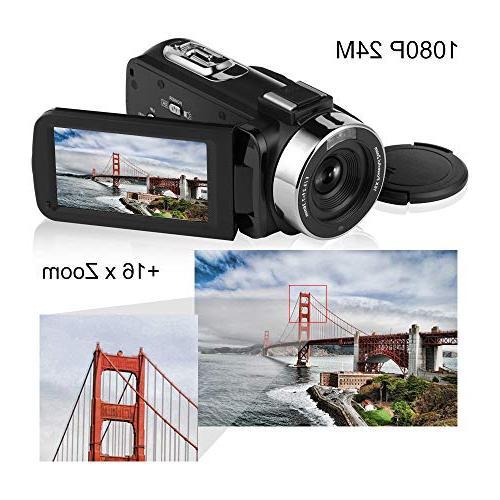 Seree Camcorder Full 1080P Vlog Night Vision Digital Camera with External Micphone Camera Camera for
