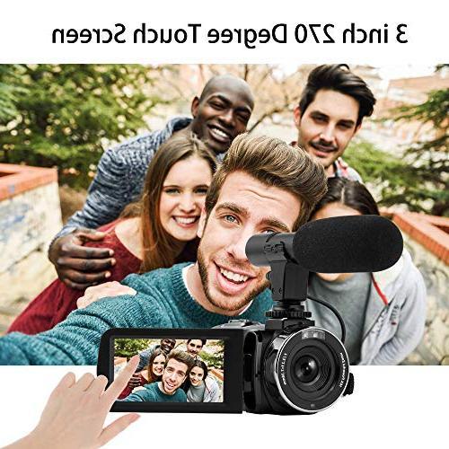Seree Video Camera Full HD Vlog Digital Camera Micphone Camera