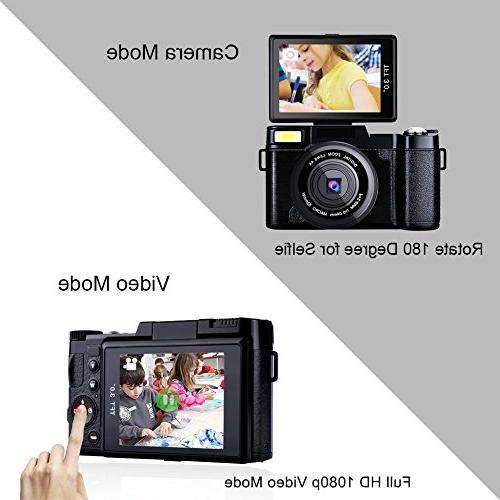 Seree Digital WiFi Vlogging Camera 2.7K Camcorders Camera Retractable Flash UV