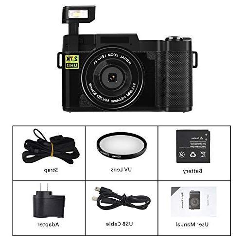 Seree Camera WiFi Camera 2.7K Ultra 24MP Camcorders Vlogging Camera Retractable UV Lens