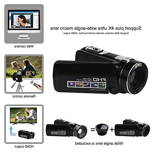 "Video 1080p 18x Digital Zoom 2.7"" LCD 270° With Remote"