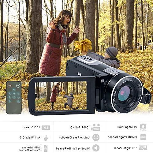 SEREE camcorder Full HD 1080p Camera 24.0MP Zoom LCD Rotation with Control