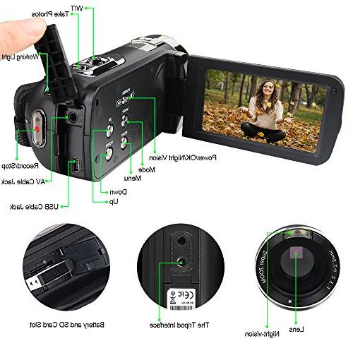 SEREE camcorder Camera Full HD 1080p Camera Digital Zoom Rotation Screen Control