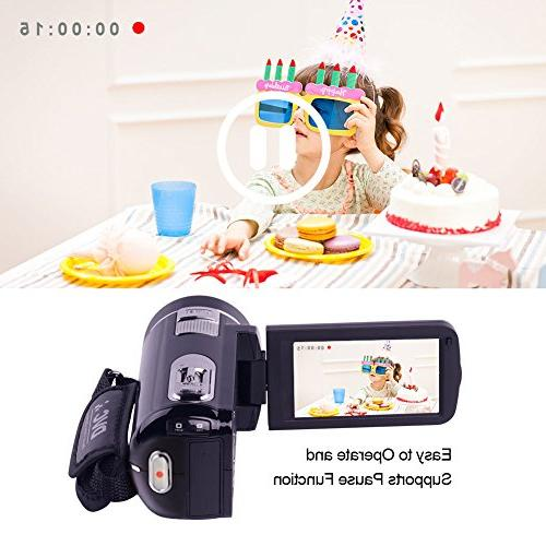 """SEREE camcorder Full HD 1080p Camera 24.0MP Zoom 3.0"""" LCD Rotation Screen with Control"""