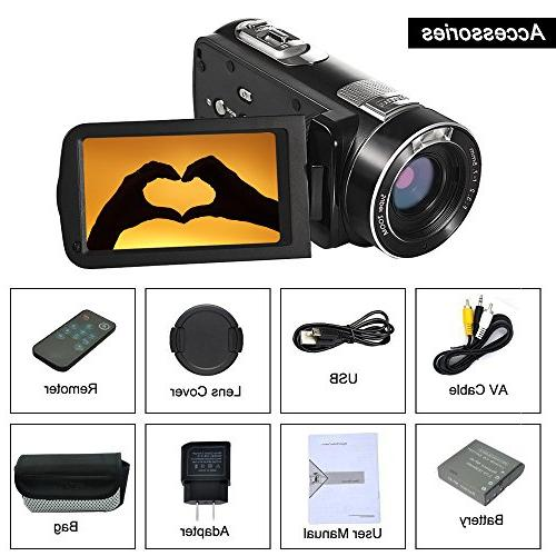 "SEREE Video Camera Full Camera 18x Digital Zoom 3.0"" LCD 270° Rotation with Control"