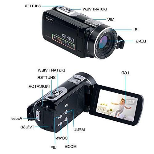 "Camcorder HD Camera Zoom 2.7"" Angle Lens"