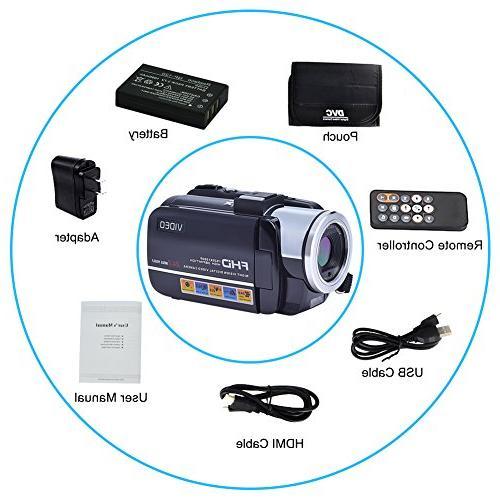 SEREE Camcorders FHD 24.0 Portable Digital Video Camcorder Camera Zoom