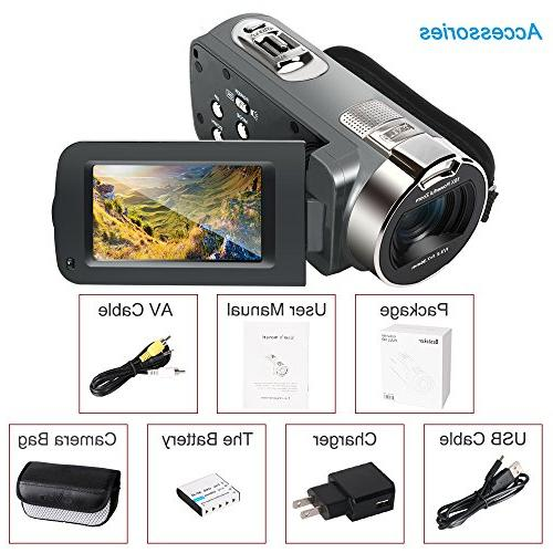 """Camera 16MP 16X Digital Zoom Video Camcorder with 2.7"""" Rotation Screen"""