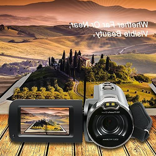 Camera Camcorders, HD 16MP Video with LCD and 270 Rotation Screen