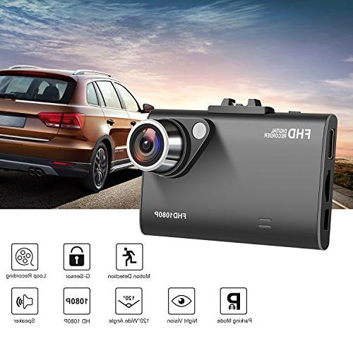 "Car Dash Camera for 1080P Wide Angle 2.7"" LCD Screen Night Vision, Detection, G-sensor, Camcorder"
