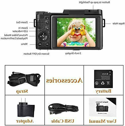 Digital Camera Vlogging 24MP Full for YouTube 3.0 Inch Rotation