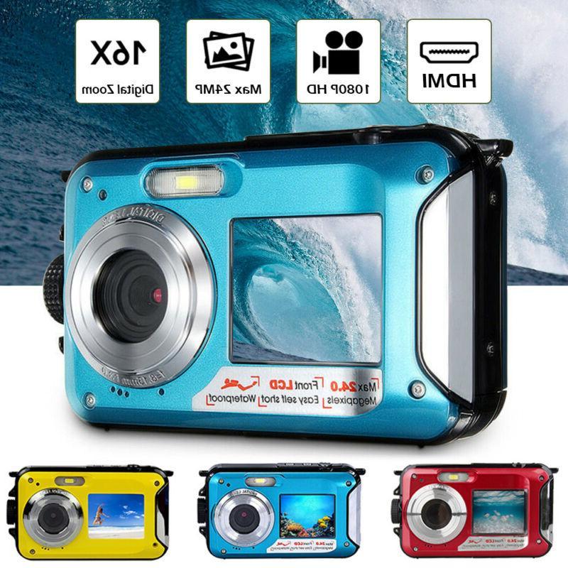 double screen waterproof camera sports diving digital
