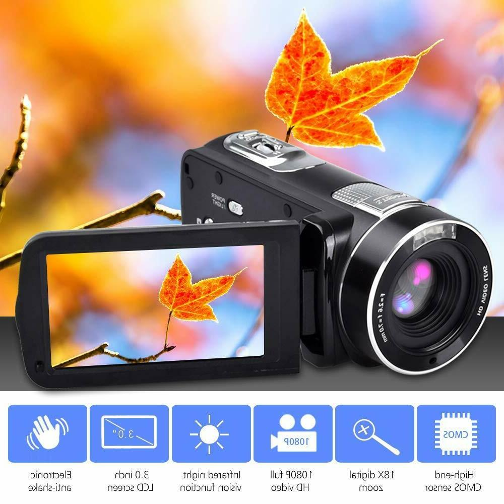 FHD Camcorder Night Vision 1080p Control Infrared Camera Screen