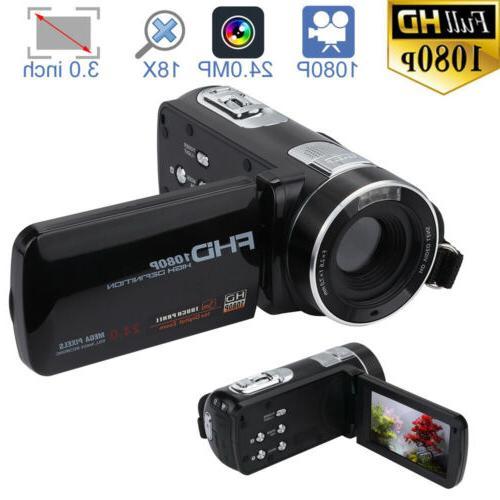 "Full HD 1080P 3"" Camcorder 24.0MP 18X Zoom Video Digital DV"