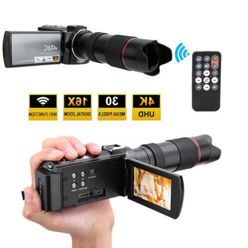 "HDR-AE8 4K HD WIFI 3.0"" Video Camera Camcorder IR Vision"