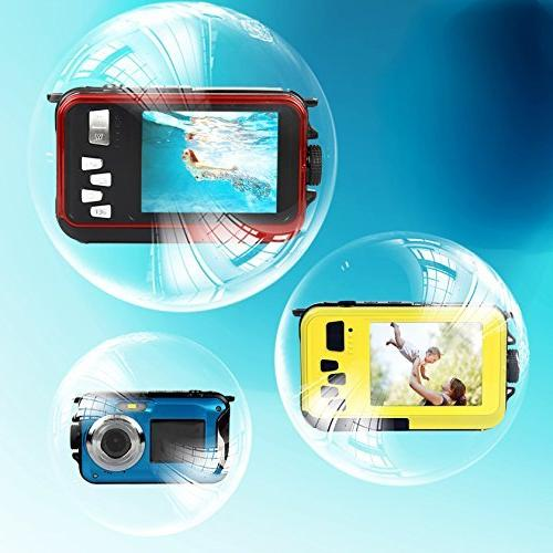 PowerLead Waterproof Camera 2.7-Inch Front Self Shot Camera