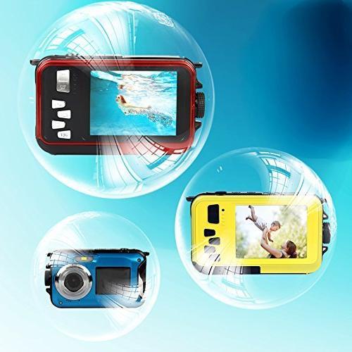PowerLead Waterproof Camera 2.7-Inch Front Self Shot Camera