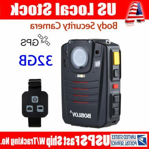 "HD 1296P Police Worn Body Camera 32G GPS 2"" LCD Screen IR-Cu"