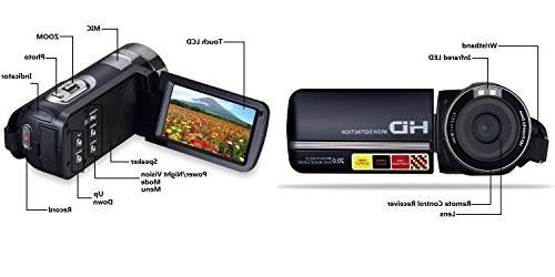 PowerLead LCD Camcorder Night Vision 24MP Camera Digital