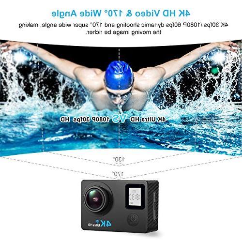 AIMTOM Camera, 16MP FHD Camera 30M Waterproof Degree Super Wide Vision, Waterproof WIFI Remote Screen Portable Sports Cam Underwater Case Helmet Mount