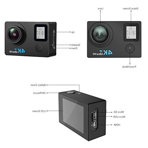 "AIMTOM TL-9 16MP FHD Video Camera 2"" Screen Waterproof Degree A+ Super Vision, Waterproof WIFI Portable Case Helmet"
