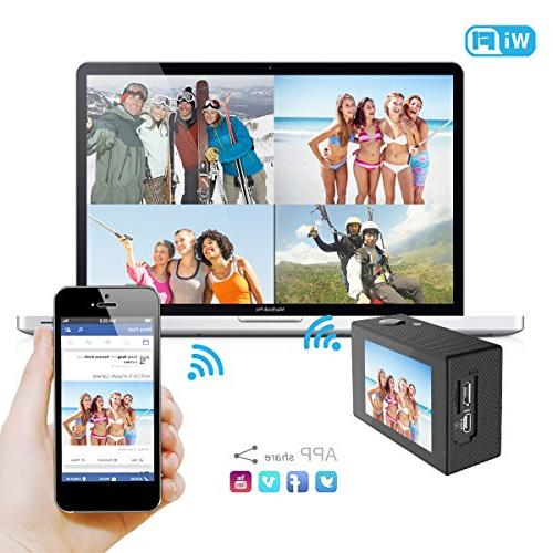 AIMTOM TL-9 Action 16MP 4K Camera Waterproof 170 Super Wide WIFI Double Portable Sports Case Mount