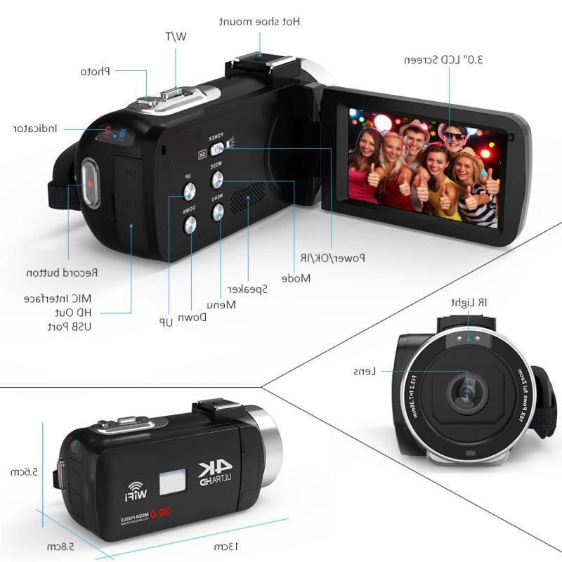 ULTRA HD 1080P WiFi 48MP Camera Camcorder Recorder