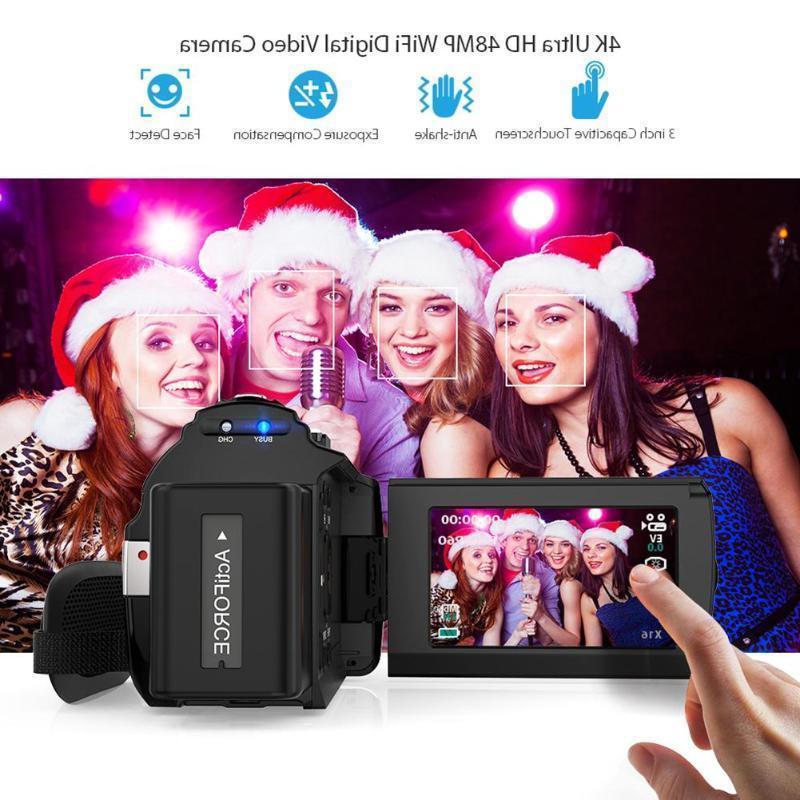 ULTRA HD 1080P WiFi 48MP Digital Camera Recorder DV+Mic+Lens