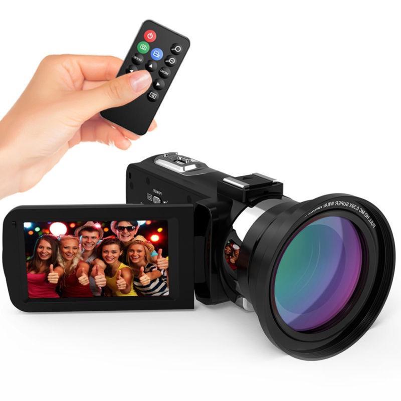 ULTRA HD WiFi 48MP Video Camera Camcorder DV+Mic+Lens