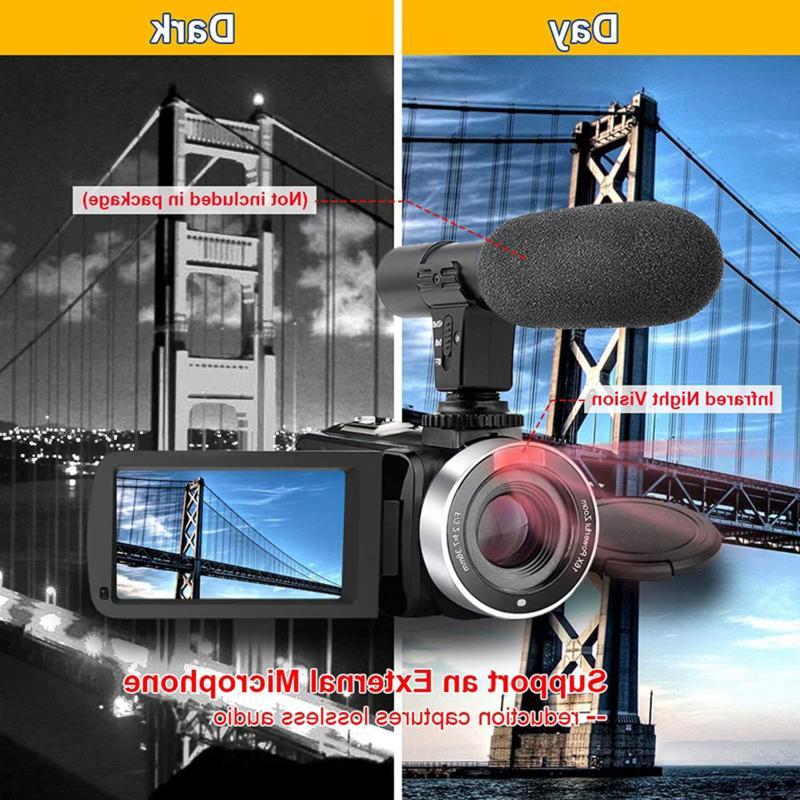 Video Camera Camcorder Hd 30Fps Mp Ir Vlogging Came