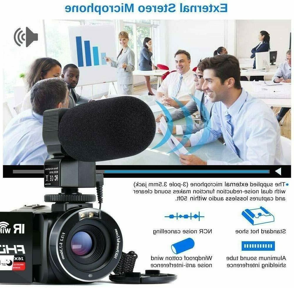 Video Camcorder WiFi IR Night Vision FHD 1080P 16X