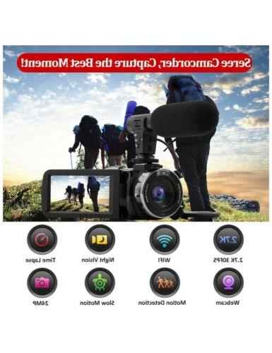Video Camcorder with Microphone Ultra WIFI,