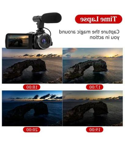 Video Camera Camcorder with Microphone 2.7K Ultra HD, WIFI,