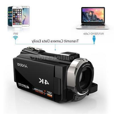 WiFi 4K 48MP 1080P Digital Camera Recorder Camcorder Lens