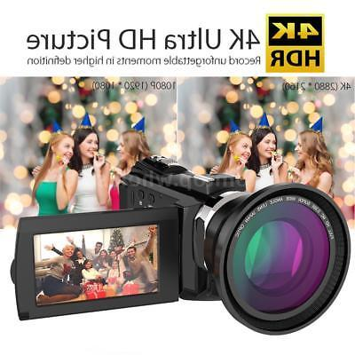 "WiFi 4K Ultra HD 48MP 3"" Digital Camcorder Video DV Camera w"