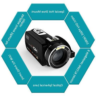 Andoer IPS HD WiFi 1080P 24MP Digital Camera DV Camcorder With Microphone