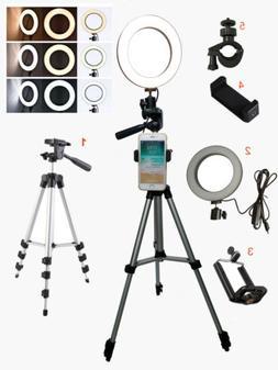 "6"" LED Ring Light Camera Lamp w Tripod Stand Phone Holder fo"