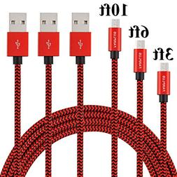 Micro USB Cable,Farplus 3Pack 3 6 10 FT Extra Long Nylon Bra