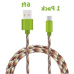 Micro USB Cable, TOODAY 6FT Nylon Braided High Speed 2.0 USB