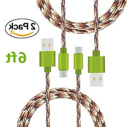 Micro USB Cable, TOODAY 6FT 2-Pack Nylon Braided High Speed