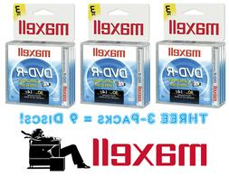 NEW!! 9 MAXELL Mini DVD-R Camcorder 30 Minutes 1.4 GB - Thre