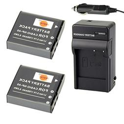 DSTE 2x NP-40 Battery + DC73 Travel and Car Charger Adapter