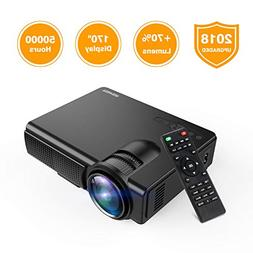 Projector, Upgraded Lumens TENKER Mini Projector with Big Di